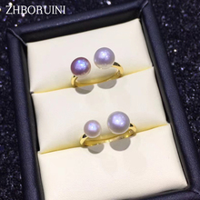 ZHBORUINI Fashion Pearl Ring Natural Freshwater Pearl Double Pearl 925 Sterling Silver Good Ring Jewelry For Women Drop Shipping zhboruini fashion pearl jewelry set natural freshwater pearl flower necklace earrings ring 925 sterling silver jewelry for women