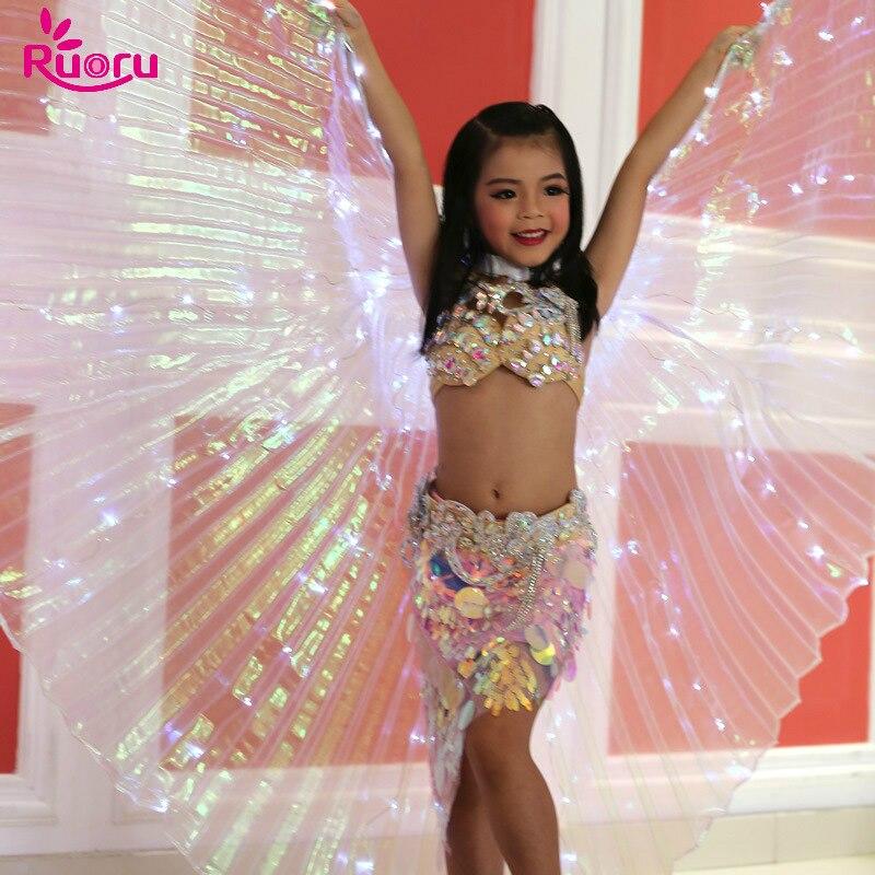 Ruoru светодио дный крылья Isis с палкой белые радужные светодио дный СВЕТОДИОДНЫЕ блестящие с крыльями для танца живота танцевальные аксессуа...
