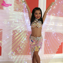 Ruoru Children Led Isis Wings with Stick White Rainbow Kids Shining Belly Dance Accessories Girls 360 Open
