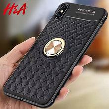 H&A Luxury Business Style Phone Case For iPhone X XR XS Max 8 Car Bracket Magnetic Ring TPU Cover For iPhone 7 8 6 6s Plus Cases(China)