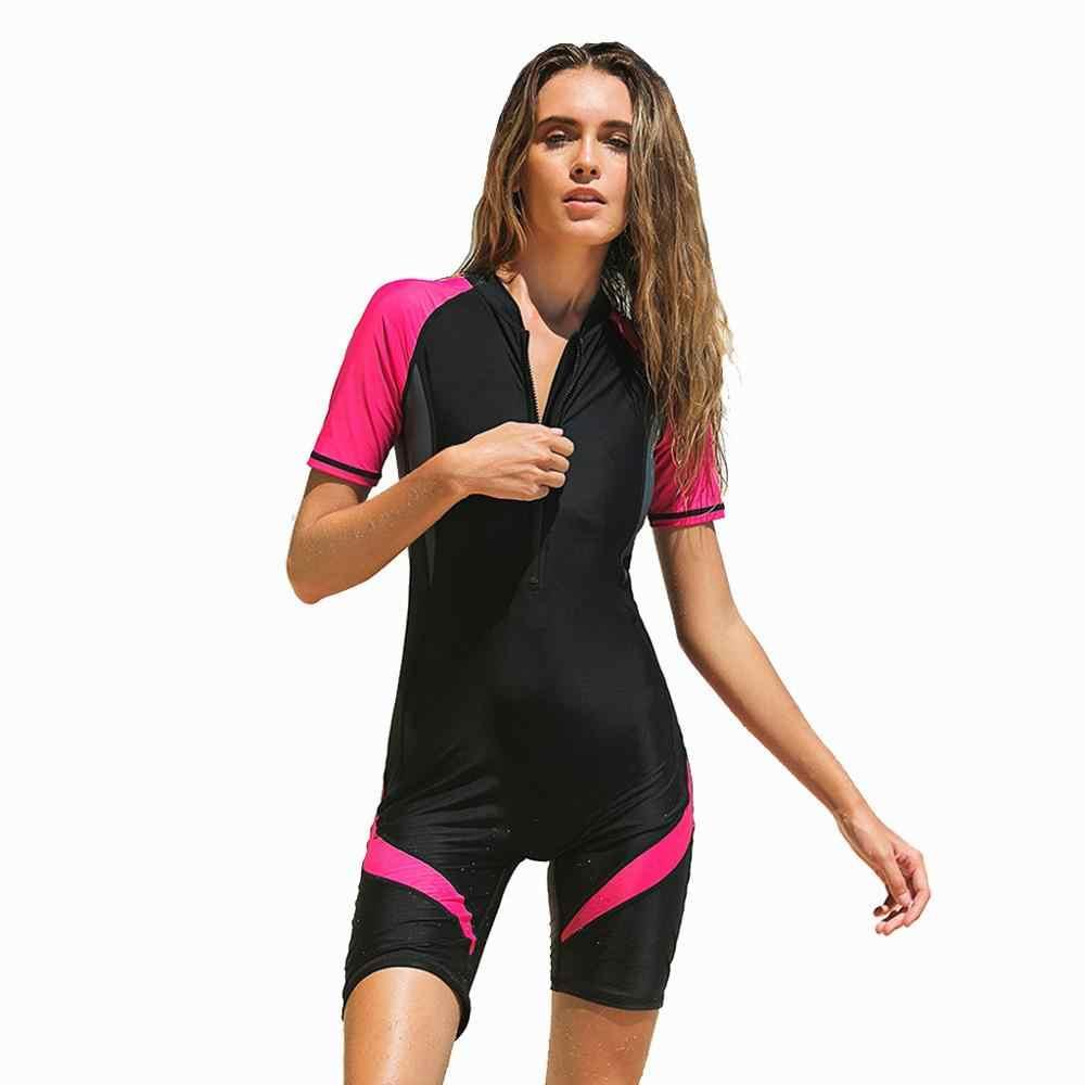 2019 Moda Bayanlar dalgıç kıyafeti Mayo Yeni Neopren Zip Shorty Wetsuit Tüplü dalgıç kıyafeti Döküntü Bekçi Yaz Mayo