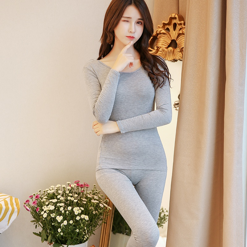 New 2 Pieces Autumn Modal Warm Women Long Johns Slim Soft Non-fading Thermal Underwear Women Plus Size Ropa Mujer Invierno X3