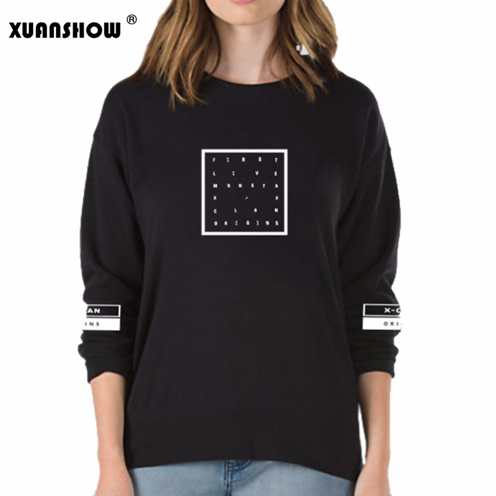 XUANSHOW Sweatshirt Women MONSTA X KPOP Fans Clothing Hajuku Pullover Hoodies Fleece Tracksuits Letters Printed Sweatshirts