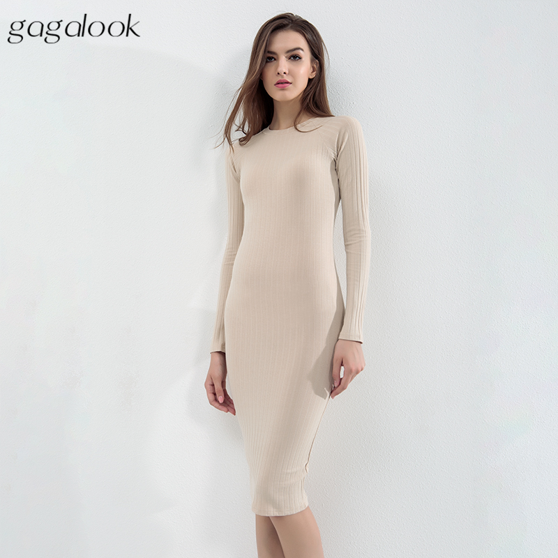 3ce431d841e5 gagalook Round Neck Winter Dress Women Sexy Black Bodycon Ribbed Long  Sleeve Midi Office Dress Robe Femme D1157-in Dresses from Women's Clothing  on ...