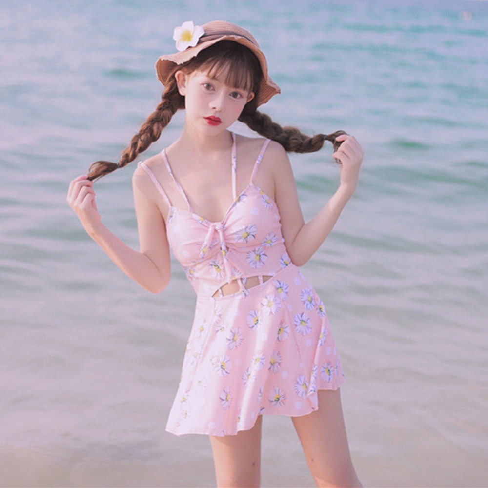 The Latest Japanese Style Kawaii Girl One Piece Swimsuit Hollow Out Flowers Printed Sexy Beach Wear Bodycon Slim Women Swimwear hollow out swimsuit