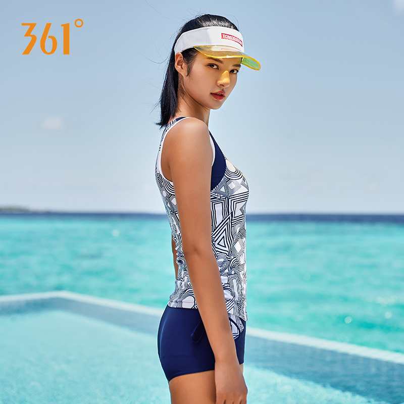 361 Women Tankini Swimsuit Two Pieces Bathing Suits Beach Surfing Swim Suit Female Swimwear Sports Sleeveless Swimming Suit in Body Suits from Sports Entertainment