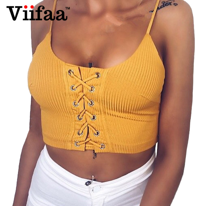 Viifaa Knitted Tank Top Strappy Sexy Lace Up Crop Top Women Summer Bustier 2018 Streetwear Yellow Camisole Tops