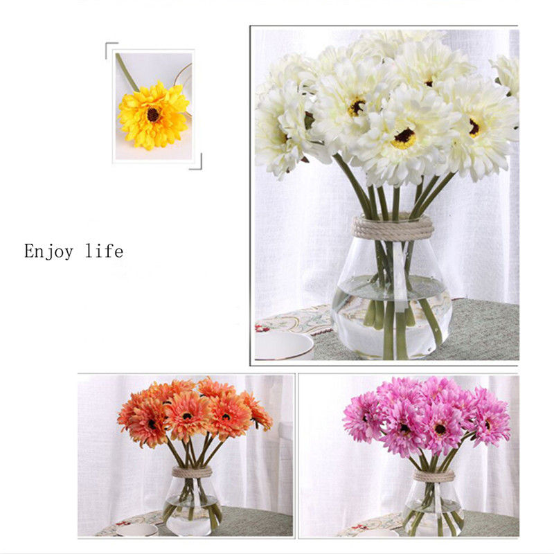 Wedding Bouquets Without Flowers: 10pcs Silk Artificial Flowers Daisy Bouquets For Home