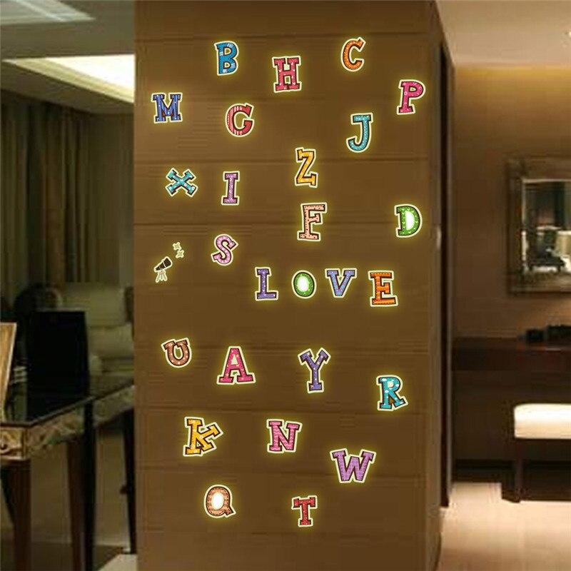 Светящийся текст функция наклейки 26 английские буквы дети учатся спальня гостиная декоративные люминесцентные живопись