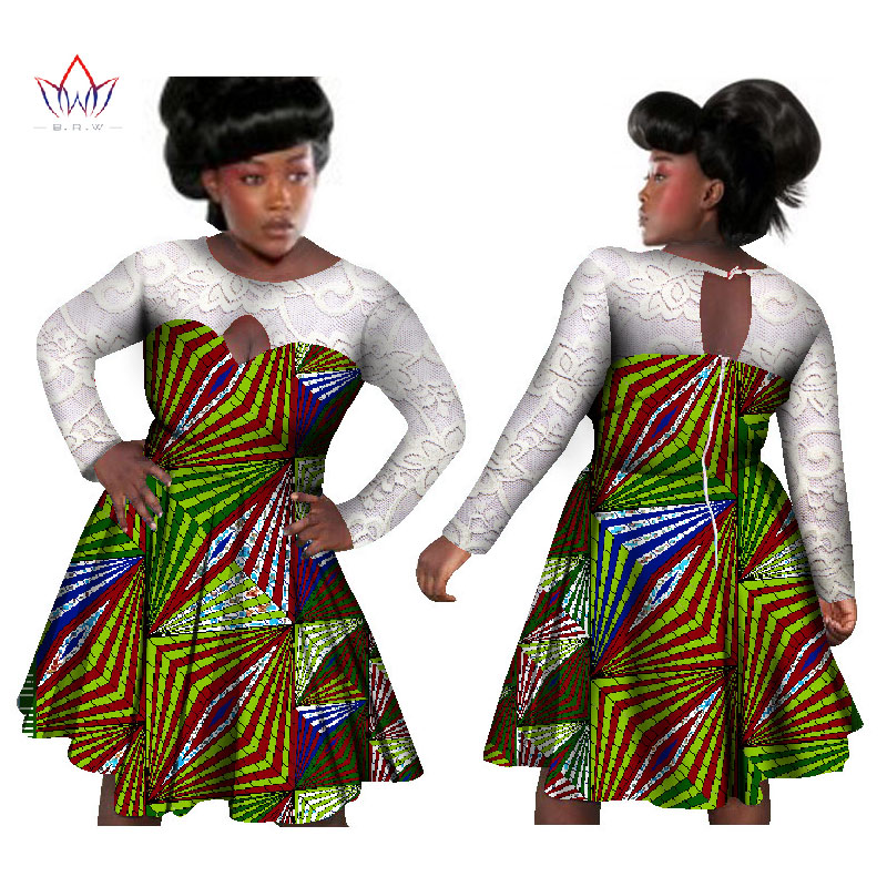 BRW Bazin Riche African Wax Print Dresses Cotton Lace Patchwork Party Dress  Dashiki Traditional African Clothing for Women WY988-in Dresses from Women s  . 9697cbfebc39