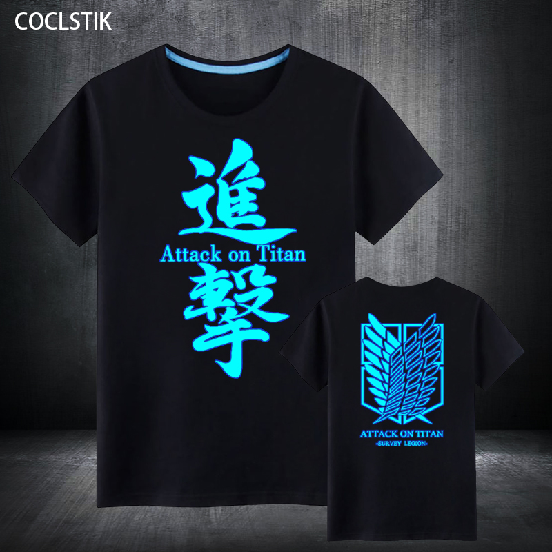 100% Cotton Childrens/Adult Summer Fluorescent Anime Attack on Titan T Shirt Male/Mens Luminous In Dark No Kyojin T Shirts S-5XL