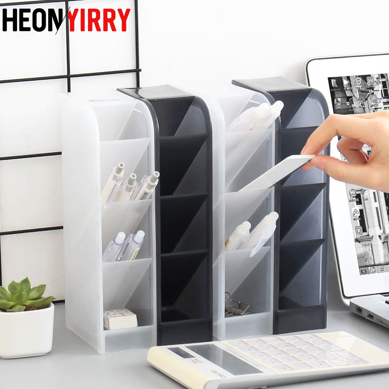 Multi-function 4 Grid Desktop Pen Holder Office School Storage Case Clear White Black Plastic Box Desk Pen Pencil Organizer(China)