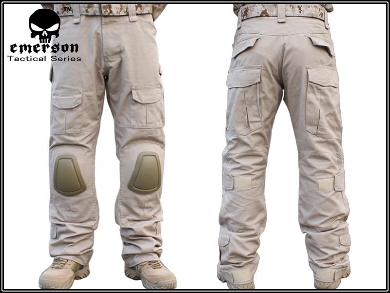 Men Military Airsoft Combat bdu Pants EMERSON Tactical Gen2 Pants with Knee Pad Tan EM2746
