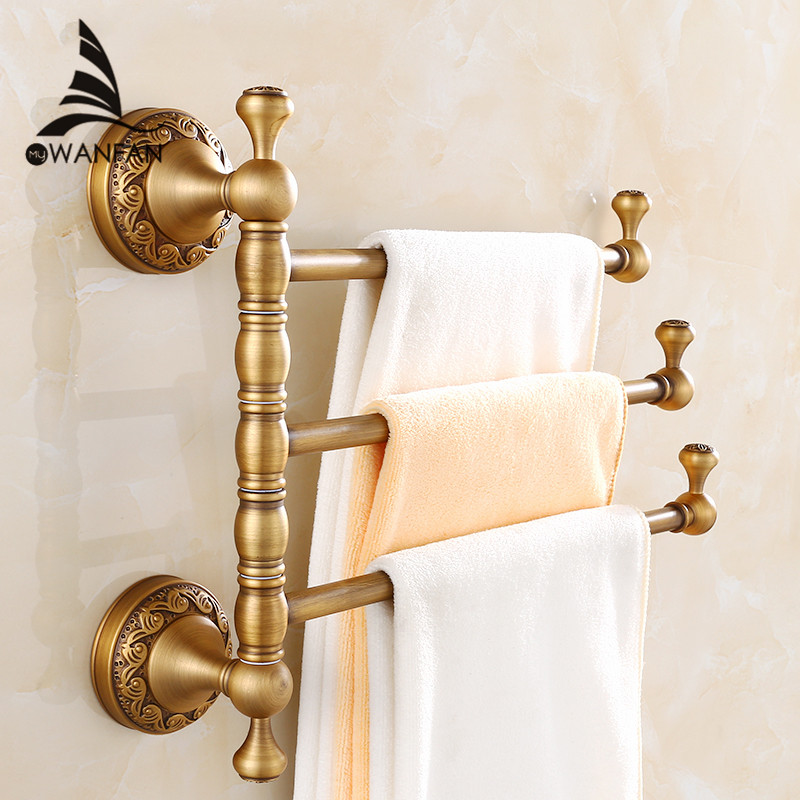 Towel Racks 3 4 Tiers Bars Antique Brass Towel Holder Bath Rack Active Rails Pants Hanger Bathroom Accessories Wall Shelf F91373