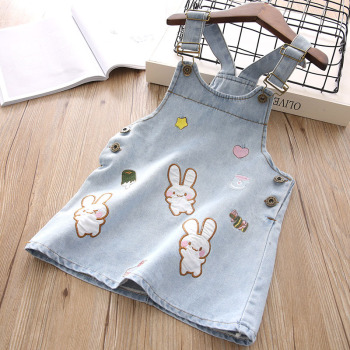 2018 New Summer Item Girl Cute Rabbit Jeans Suspender Dress Tops & Tees