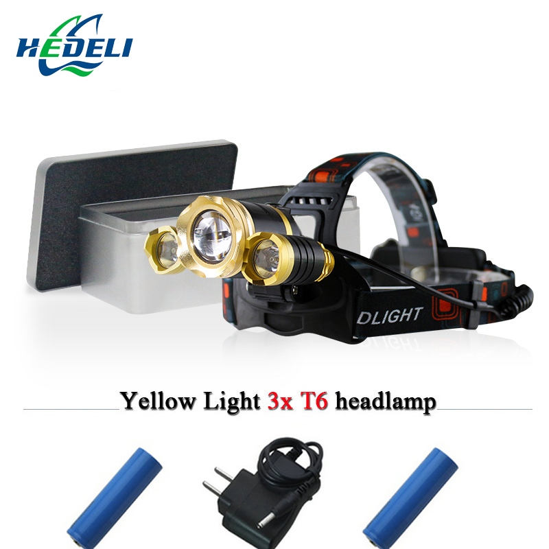 hunting and fishing White Yellow light 3 cree xml t6 headlight led headlamp rechargeable head torch flashlight lamp 18650
