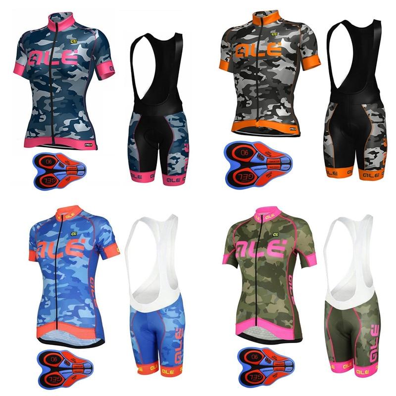 2018 Ale Cycling Jersey summer new women cycling clothing set Quick dry bike  Shirts 9D Gel Pad Bib shorts set ropa ciclismo C9