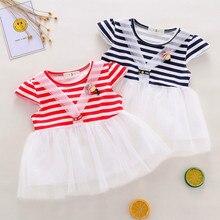 Striped Princess Dress Clothes Summer New Fashion Toddler Kid Baby Girl Shot Sleeve Dress цена в Москве и Питере