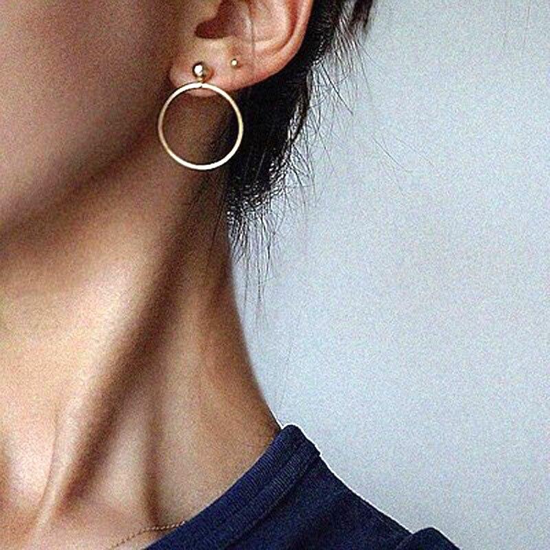 FLTMRH Vintage Gold Color Circle Star Earrings Pendant Earrings Female For Women delicate gift