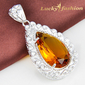 Free shipping - best salling Unique shiny Brazil citrine Pendant Delicate Silver Plated for women