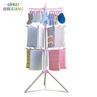 Simple drying racks Floor folding mobile towel sock rack hanger Balcony plastic hangers Indoor clothes racks
