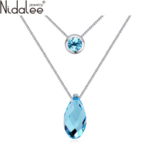 Nidalee 2016 New Teardrop Shaped Pendant Crystal Necklaces Crystal From Swarovski Necklaces For Women Wedding Jewelry Hot N1597
