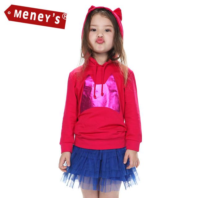Meney Niñas camisetas de los Hoodies Ropa Del Cabrito Primavera del Estilo Del Oído de Gato de dibujos animados Sudaderas niños de Manga Larga Outwear kid Sudadera