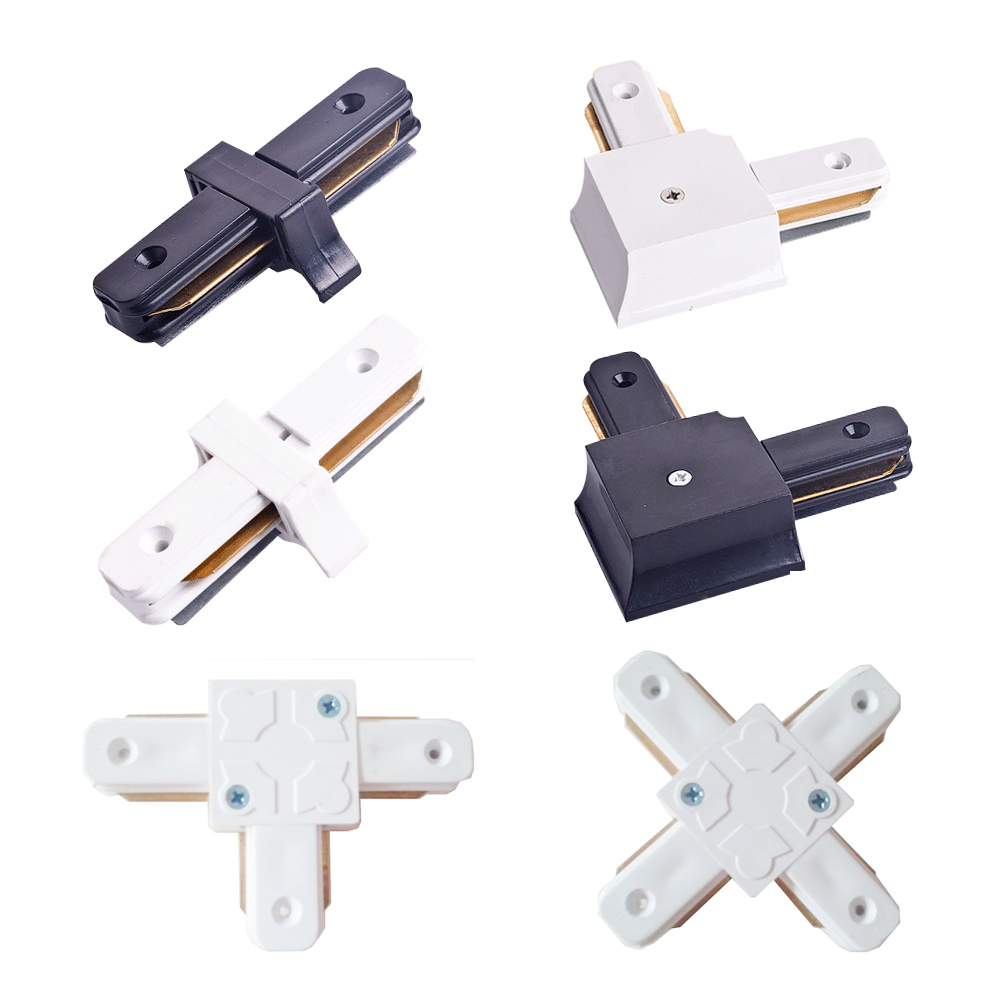 Connectors for led track rails lights 2 wire tracks i t l and cross connectors for led track rails lights 2 wire tracks i t l and cross 4 kind of types white and black color in track lighting from lights lighting on aloadofball Images