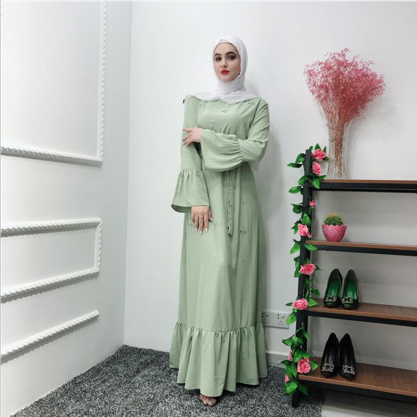 Fashion Diamond Beading Muslim Robes Syari Dubai Fashion Female Full Length Ruffles Abaya Muslim Dress Robes With Belt Wq1947