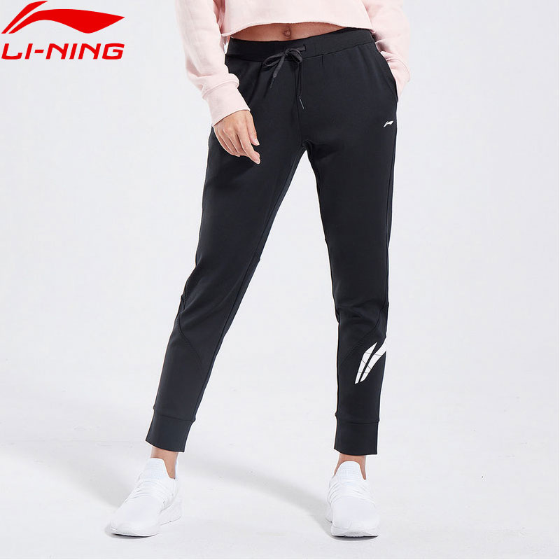 (Clearance)Li-Ning Women Training Sweat Pants Regular Fit 100% Cotton LiNing Comfortable Sports Pants Trousers AKLN722 WKY199(China)