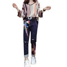 0e9ae3148966 2019 Spring women 2-piece Set large 3XL women long sleeve stripe sweater  thin loose knit top pants two-piece suits denim jeans