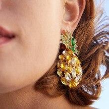 2019 ZA Ananas Diamante Pineapple Statement Crystal Drop Dangle Earrings For Women Summer Rhinestone Jewelry Accessories Bijoux