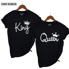 2018 NEW KING QUEEN Letter Printed Black Tshirts 2018 Summer Casual Cotton Short Sleeve Tees Tops Brand Loose Couple Tops(China)
