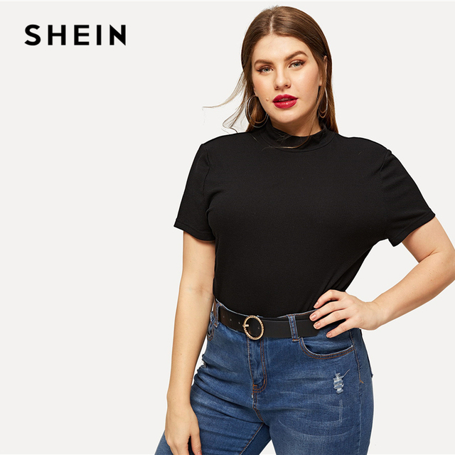 SHEIN Black Plus Mock-neck Knitted Slim Fitted Tee Solid Top Short Sleeve T Shirt Summer Plus Size Women Casual Tshirt Tops 3