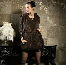 Free shipping  knitted genuine real natural mink fur vest women's long jacket with a hood winter  outerwear big size