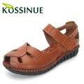 Натуральная кожа летом сандалии мягкие подошва обуви открытым носком женские сандалии плоский каблук старинные женские плоским skidproof летние туфли