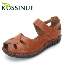 Genuine leather summer sandals soft outsole shoes open toe female sandals flat heel vintage women's flat skidproof summer shoes