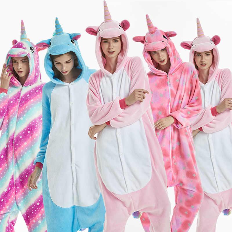 Горячая 2018 новый унисекс для взрослых фланелевые пижамы Косплэй милый  мультфильм животных зимняя пижама Рождественский подарок f5a1a9530f407