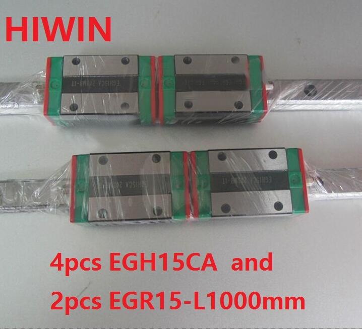 2pcs 100% original Hiwin linear guide rail EGR15 -L 1000mm + 4pcs EGH15CA linear block for CNC router free shipping to united kingdom hiwin 8pcs egh15ca blocks 2pcs of 350mm egr15 rail 2pcs of 1000mm egr15 from taiwan