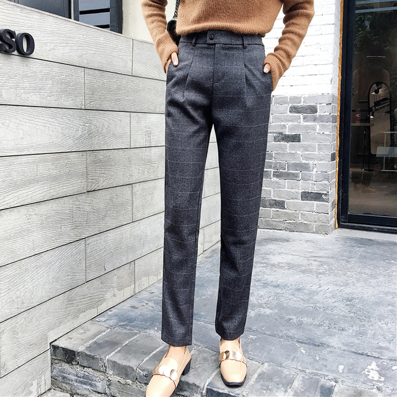 Autumn High Waist Woolen Plaid Women Pencil Pants Casual Thicken Female Trousers 2018 Winter Pants Capris pantalon mujer
