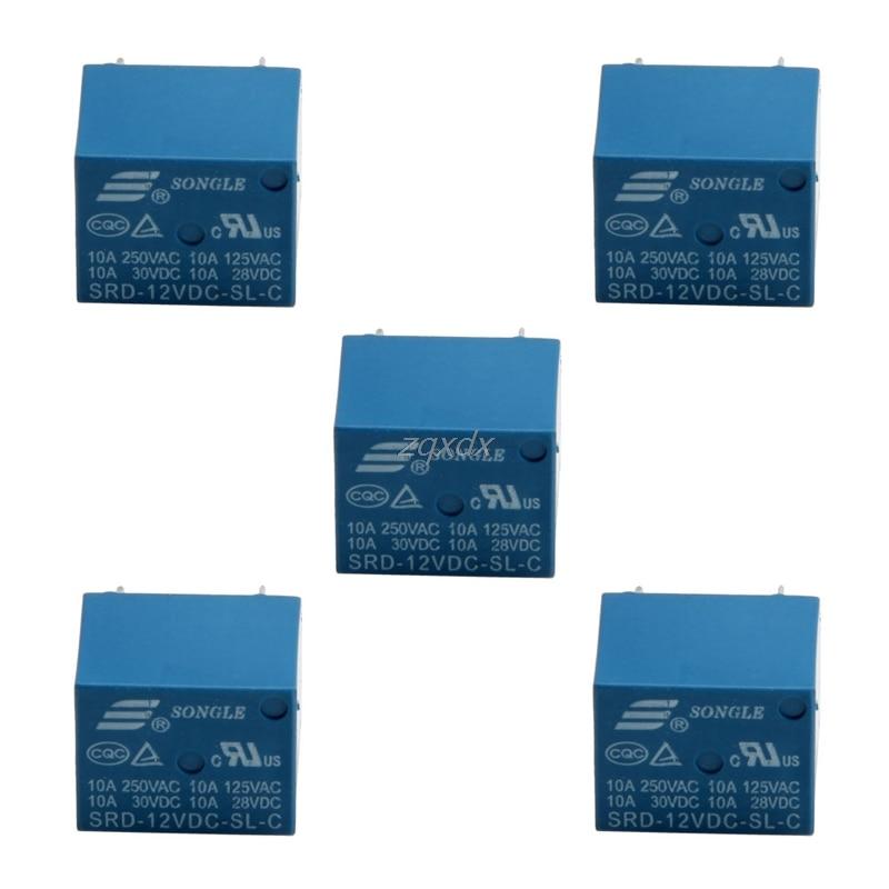 5Pcs 5 Pins Relay DC12V 10A High Current Coil Power PCB SRD-12VDC-SL-C DropShip