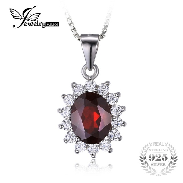 JewelryPalace Kate Princess Diana 2.5ct Natural Garnet Halo Pendant Pure Genuine 925 Sterling Sliver Jewelry for Women Fashion