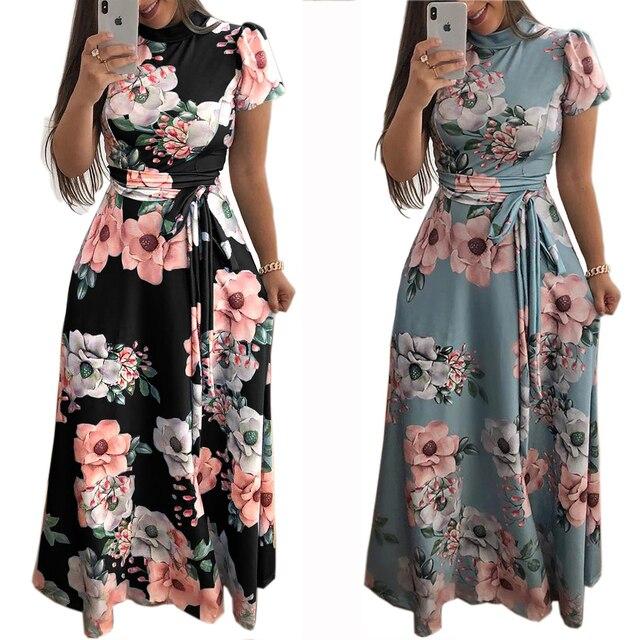 f40c16d1a3 2019 Spring Women Floral Printed Long Dress Turtleneck Fashion Maxi Dress  Puff Sleeves Tie Waist Plus