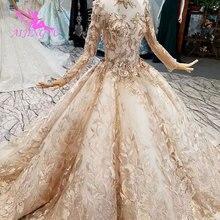 AIJINGYU לבן מלוכה שמלת שרוול עם שרוולים יעד אוקראינה רוסית פרחוני שמלות חתונה ארוך שרוול