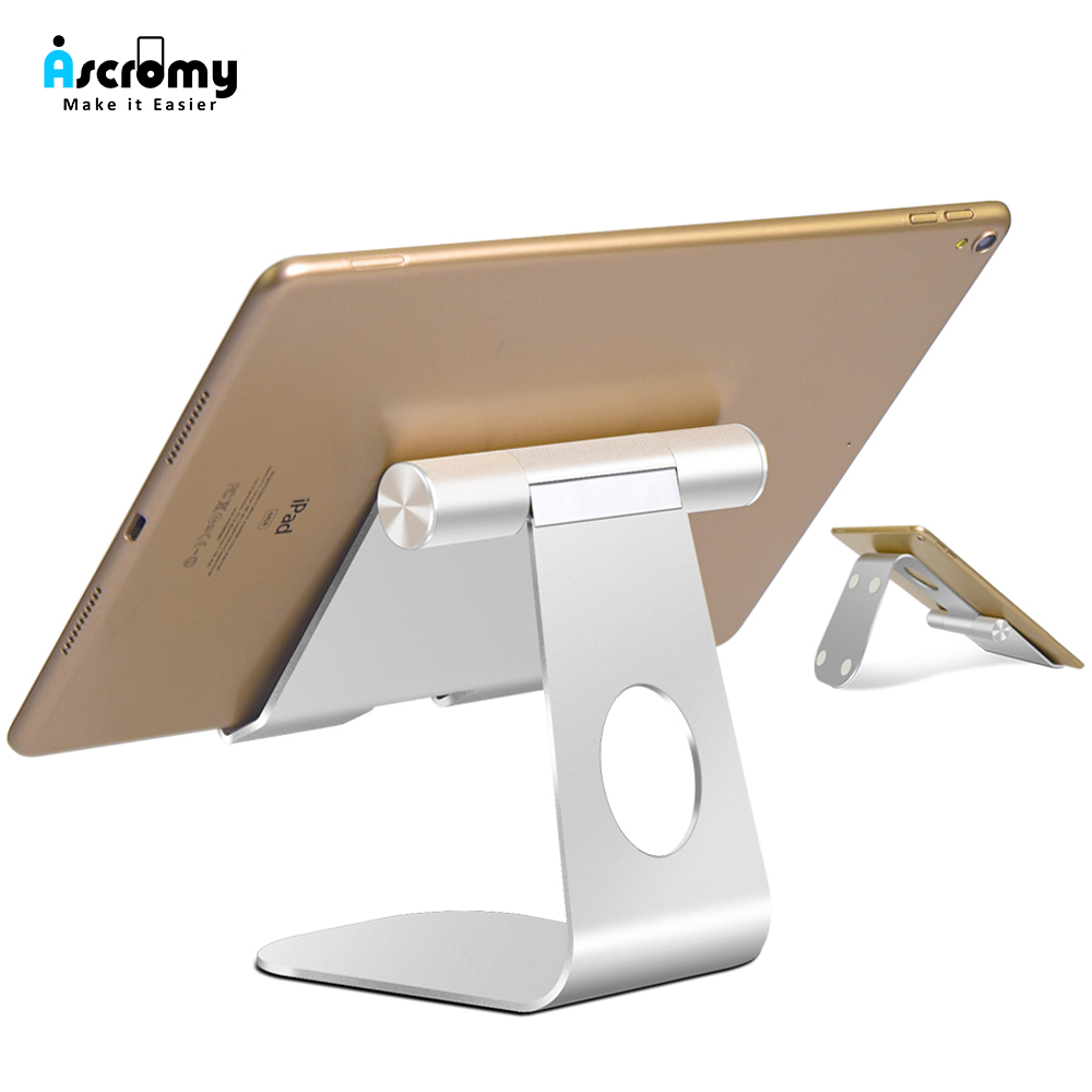 Ascromy Tablet Stand For IPad Pro 2018 Adjustable Aluminum Metal Desktop Holder For IPhone IPad Air Mini Samsung Tab Accessories