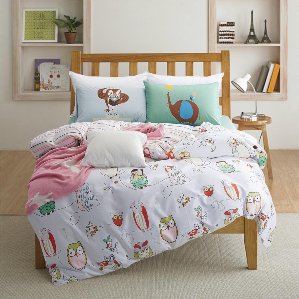 100 cotton owl print kids bedding set queen twin size for Twin size toddler bed