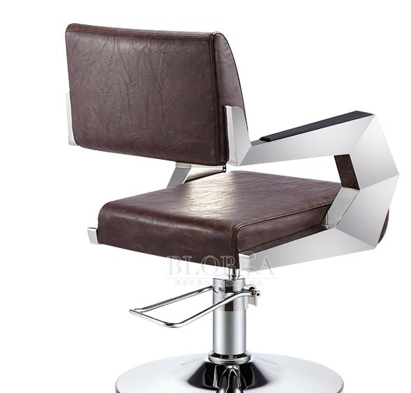 0077Hair salon personalized hair chair. Adjustable chair. Stainless steel handrail..  5222