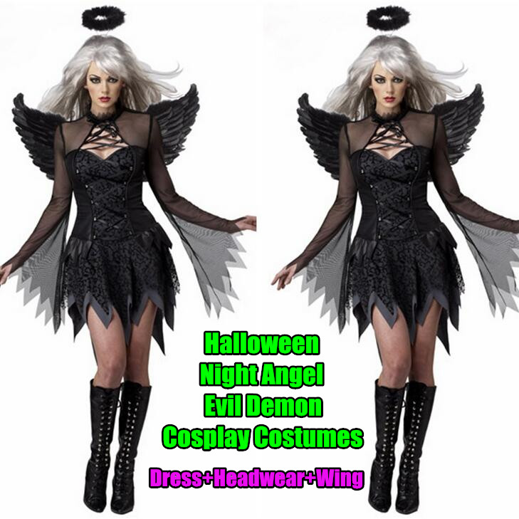 Black Womenu0026Girlu0027s Halloween Costumes Night Angel u0026 Evil Demon CosplaySexy Movie RolesDresses+Headwear+Wing-in Girls Costumes from Novelty u0026 Special Use ...  sc 1 st  AliExpress.com & 1set! Black Womenu0026Girlu0027s Halloween Costumes Night Angel u0026 Evil Demon ...