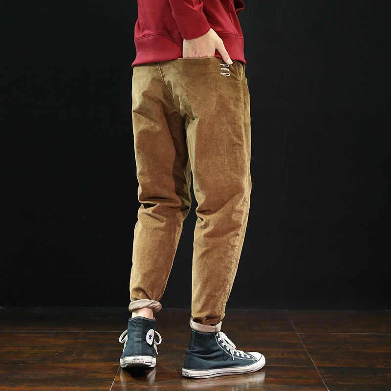 Moda klasyczne męskie spodnie dorywczo luźny krój małe nogawki spodnie haremowe duże rozmiary 28-42 styl japoński projektant spodnie sztruksowe męskie