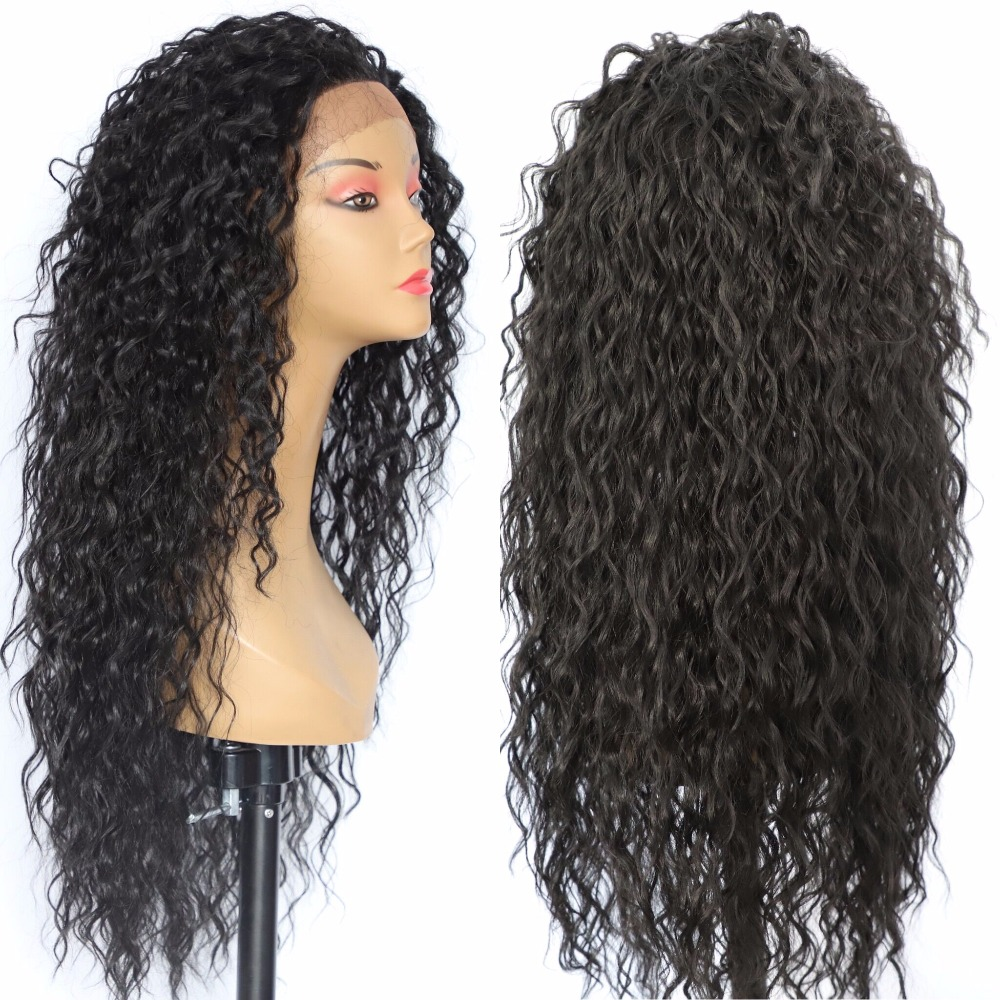 Image 2 - BeautyTown Kinky Curly Type Futura Heat Resistant Hair Black Color Women Daily Makeup Synthetic Lace Front Party Wigs-in Synthetic Lace Wigs from Hair Extensions & Wigs